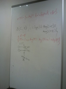 Original snapshot from our whiteboard in Bristol when developing a fast enumeration algorithm for multi-relational patterns.